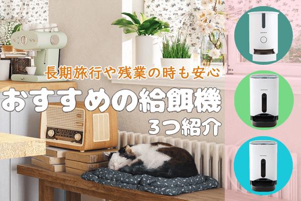 お留守番中の猫と自動給餌機