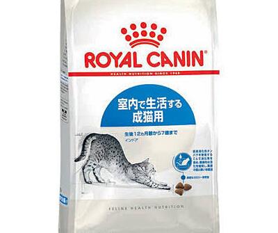 白いパッケージに伸びをした灰色の猫が描かれたロイヤルカナン